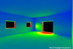 הדמיית חדירת אור מחלונות קיר